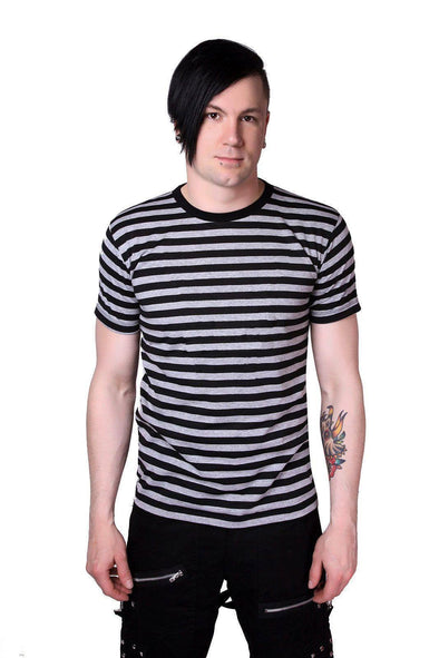 Striped Short Sleeve T-shirt (Black / Gray)