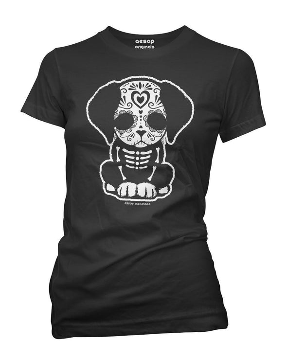 Day Of The Dead Sugar Skull Puppy Dog Womens Tee Shirt