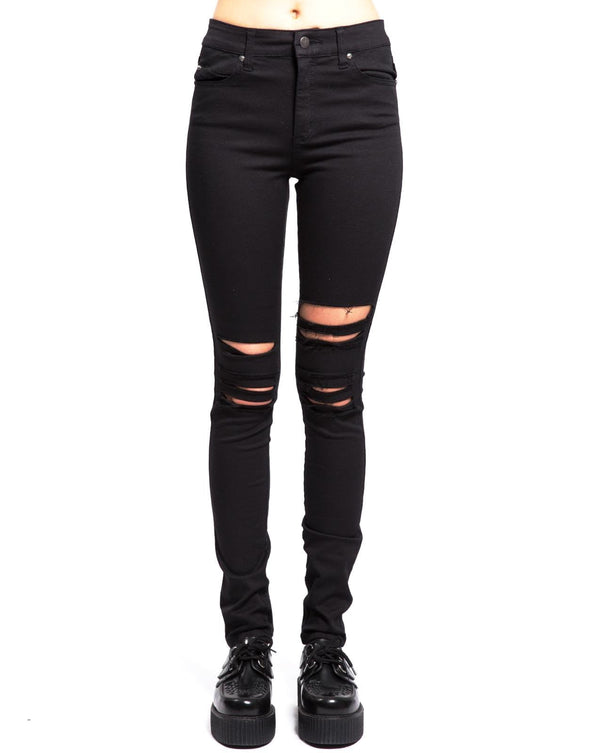 Tripp NYC High Waist Knee Slit Ladies Jeans - Vampirefreaks Store
