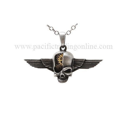 Steampunk Cyborg Skull Wings Necklace