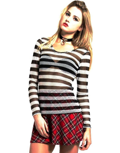 Tripp Long Sleeve Striped Fishnet