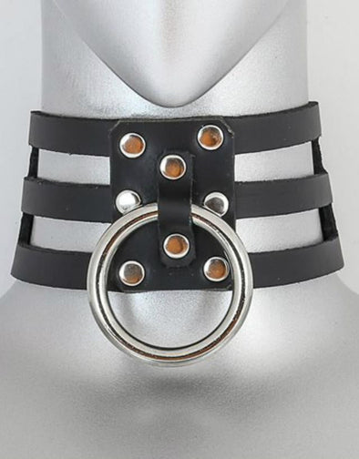 Large Bondage Ring Black Leather Collar