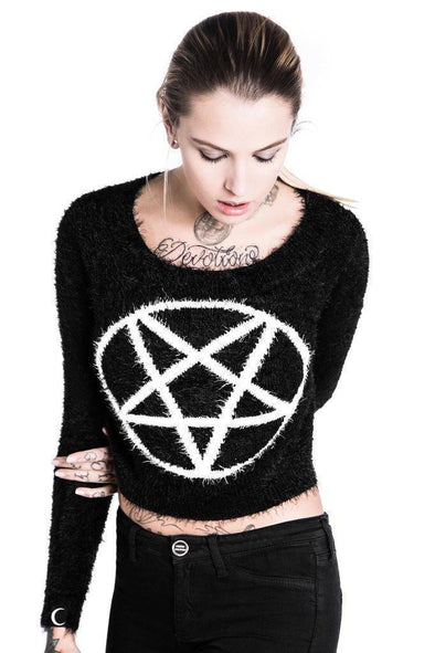Killstar Pentagram Crop Sweater
