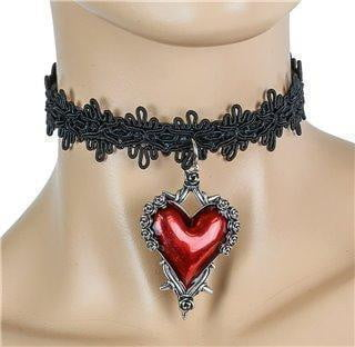 Funk Plus Red Rose Throne Heart Pendant Collar Leather Back