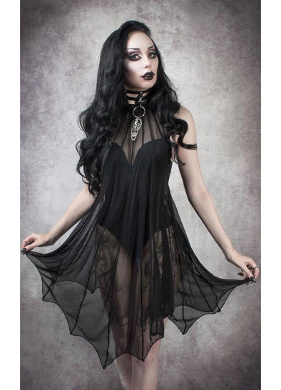 Necessary Evil Medeina Mesh Batwing Dress