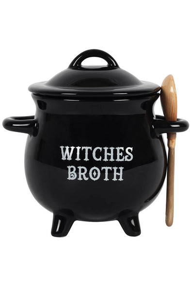 Witch Cauldron Bowl w/ Broom Spoon