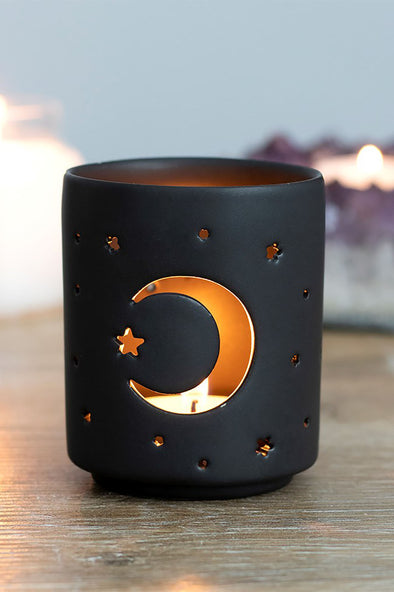 moon tea light candle holder