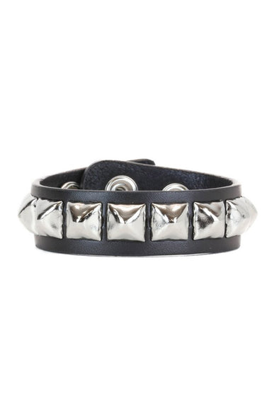 Leather Pyramid Stud Bracelet - Vampirefreaks Store