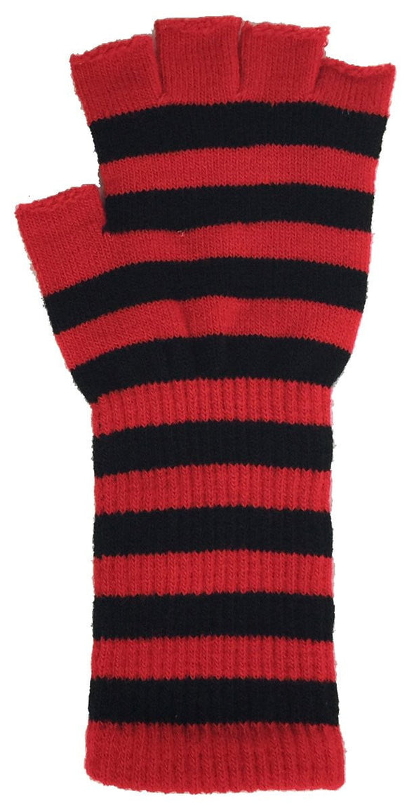 Striped Fingerless Long Gloves - Various Colors - Vampirefreaks Store