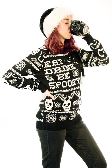 Gothic Christmas Sweater Eat Drink & Be Spooky