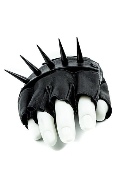 Metal Spiked Fingerless Leather Gloves