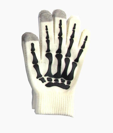 Skeleton Smart Phone Gloves - White