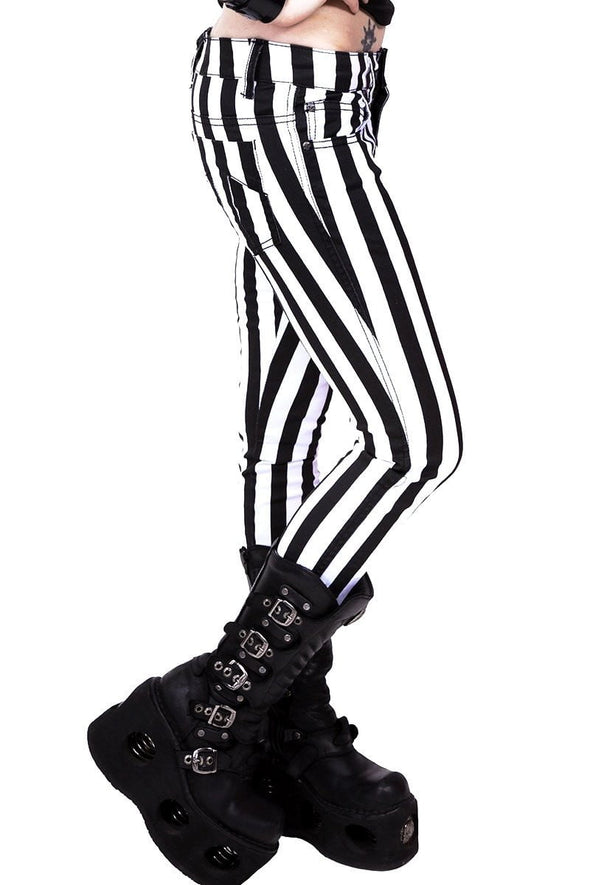 Tripp Black & White Stripe Ladies Jeans - Vampirefreaks Store