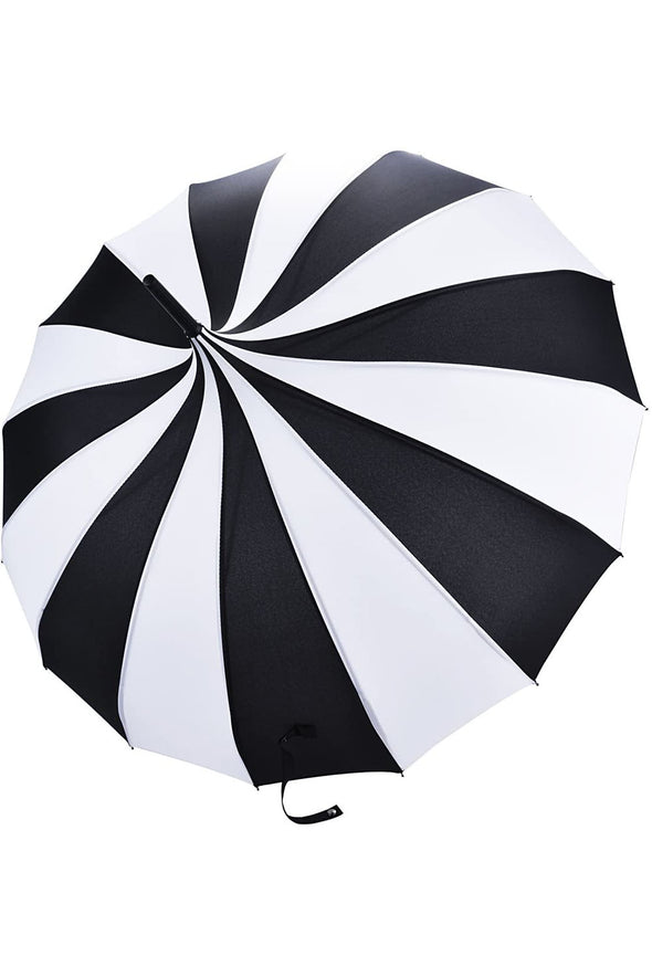 Striped Pagoda Umbrella [Black/ White]