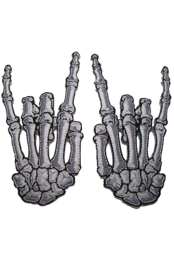Kreepsville Skelli Bone Devil Horned Hands Patch (Pair of 2) - Vampirefreaks Store