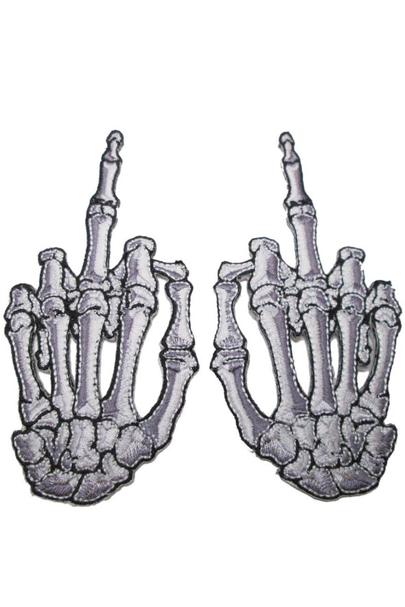 Kreepsville Skeleton Middle Finger Bone Patch Pair White - Vampirefreaks Store