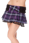 Tartan Mini Skirt w/Lacing & Mesh - Purple