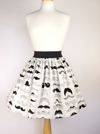 Many Moustaches A-Line Skirt - Vampirefreaks Store
