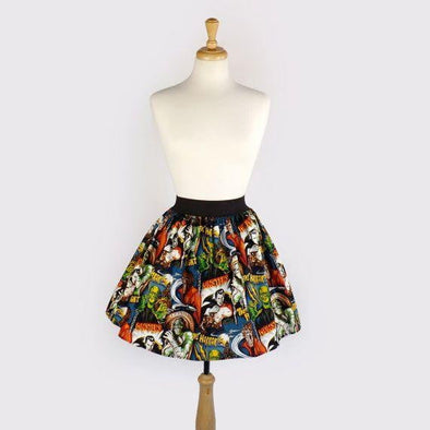 Perfectly Pleated Monsters Skirt - Vampirefreaks Store
