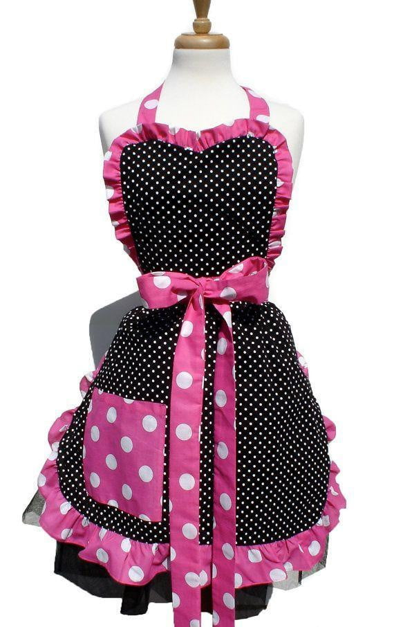 womens retro polka dot aprn
