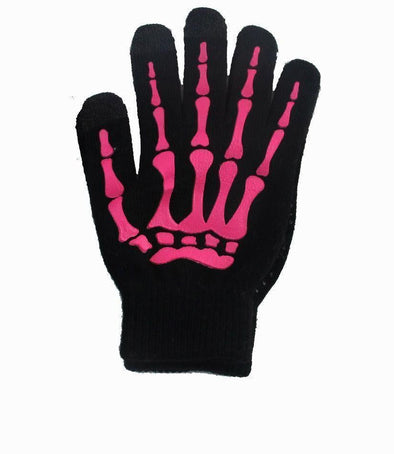 Skeleton Smart Phone Gloves - Pink