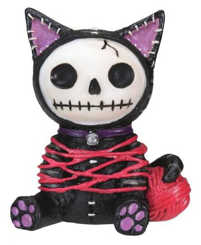 creepy dead skeleton cat statue figurine toy