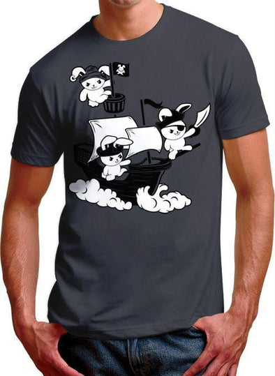 Pirate Bunnies Mens Charcoal T-Shirt