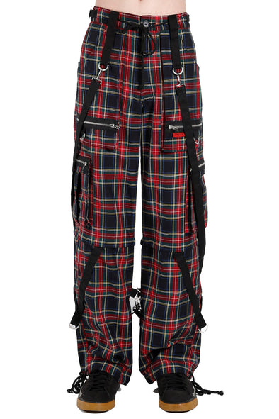 Tripp Strap Plaid Baggy Bondage Pants (Black Plaid)