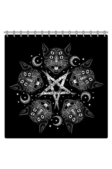 Cat-A-Gram Witch Pentagram Shower Curtain - Vampirefreaks Store
