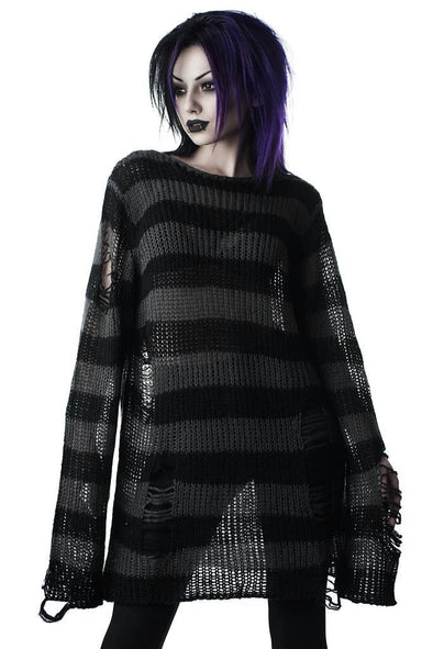 Killstar Ash Distress Knit Sweater - Vampirefreaks Store