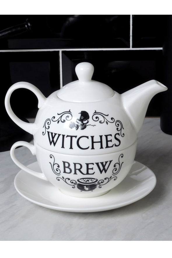 witch teapot and witch teacup