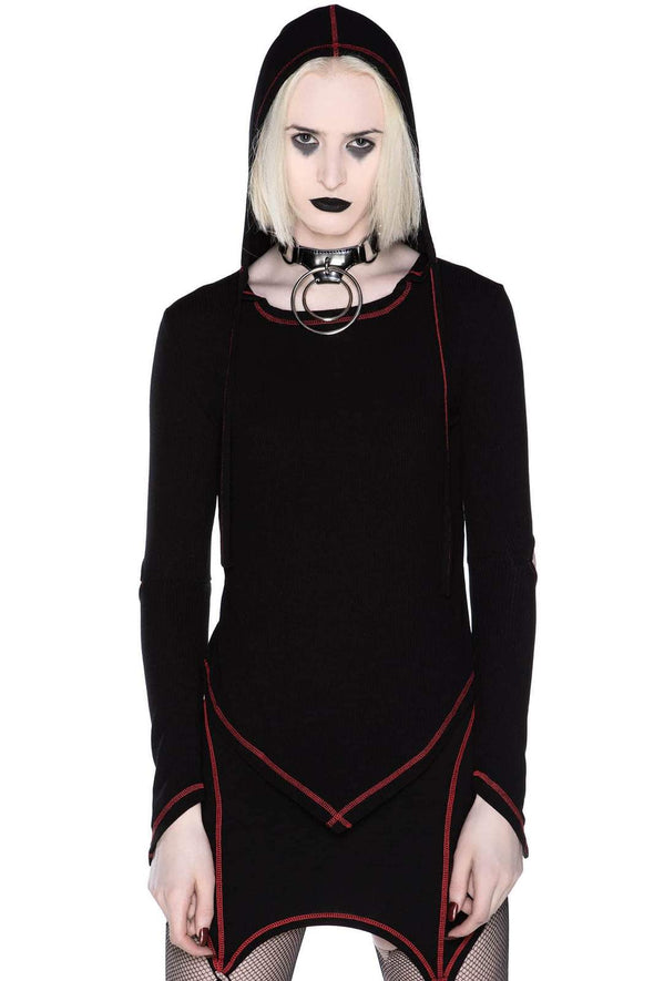 womens gothic hooded top