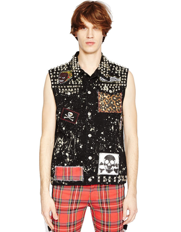 Tripp Punk Patch Hand-Studded Mens Vest - Vampirefreaks Store