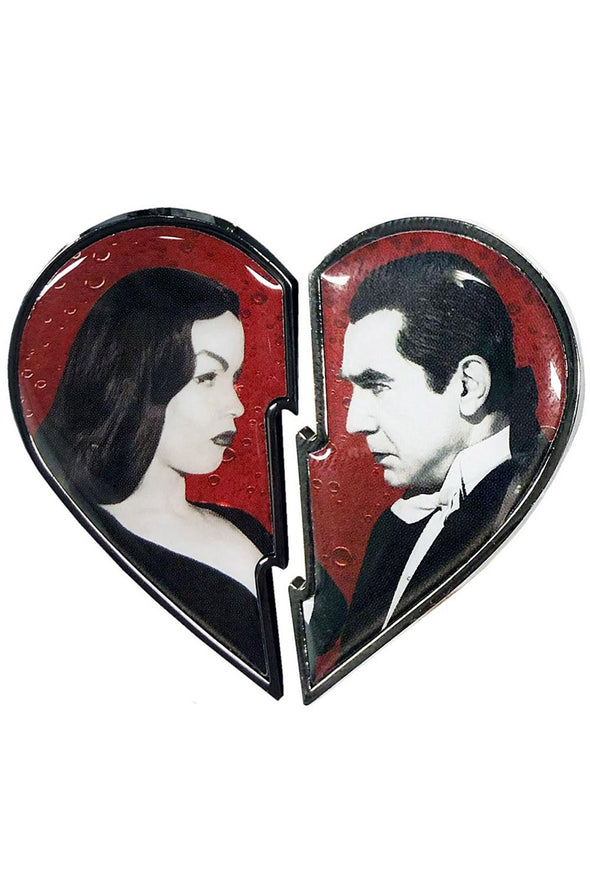 Bela Loves Vampira Broken Heart Enamel Pin Set - Vampirefreaks Store