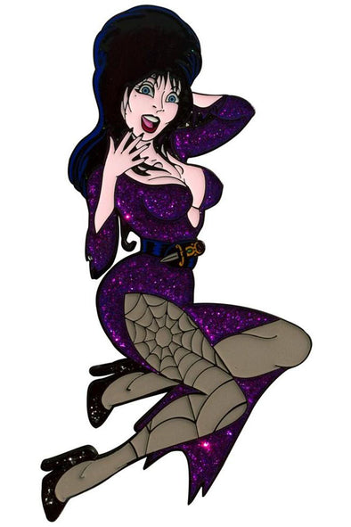 Purple Glitter Elvira XL Enamel Pin
