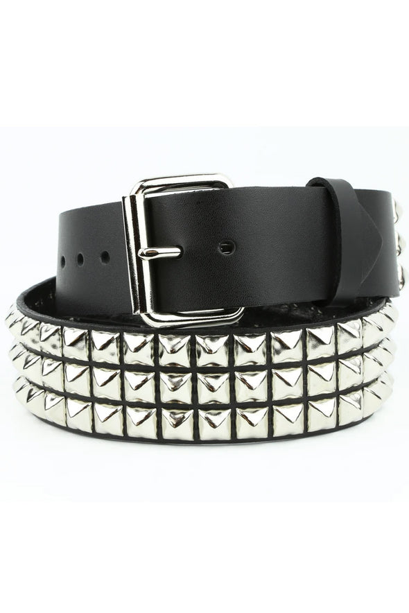 3 Rows Punk Pyramid Stud Belt [Silver]