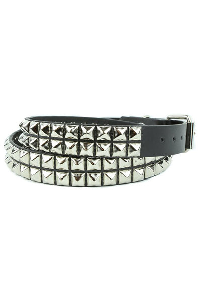 2-Row Pyramid Stud Leather Belt - Vampirefreaks Store