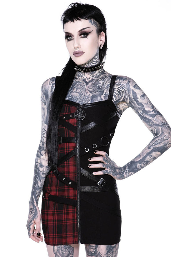 Bury Me Bondage Dress (Black and Red Plaid)