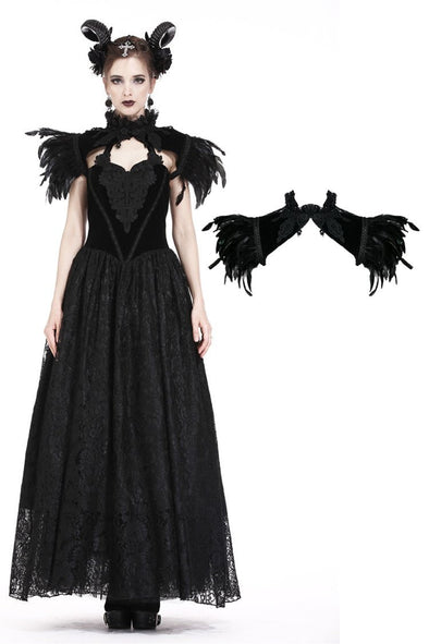 Dark In Love Feather Velvet Feather Shoulder Shrug