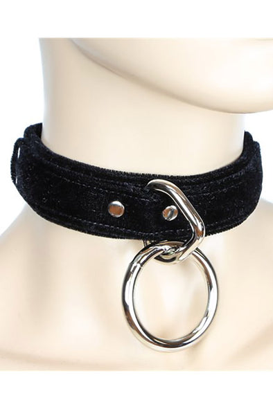 Velvet Thick Bondage Ring Collar