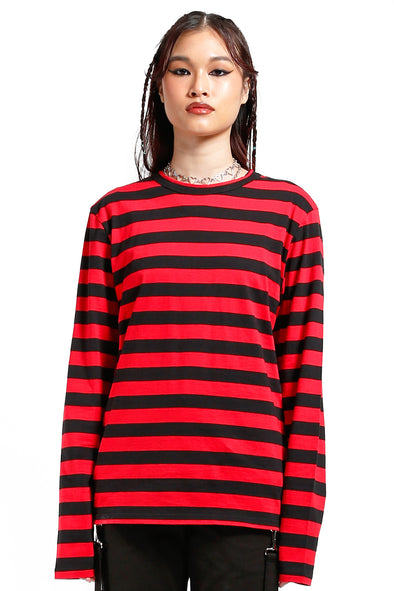 Stripe Knit Top [Red/Black]