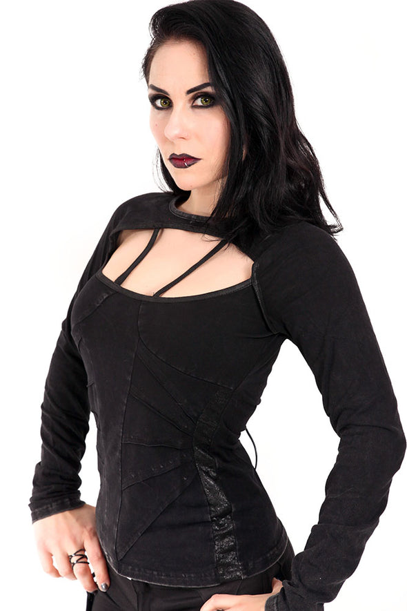 Devil Fashion Distressed Corset-back Longsleeve