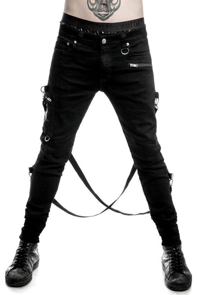 Killstar Death Trap Bondage Denim Trousers [B]