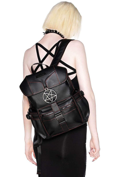 goth leather backpack