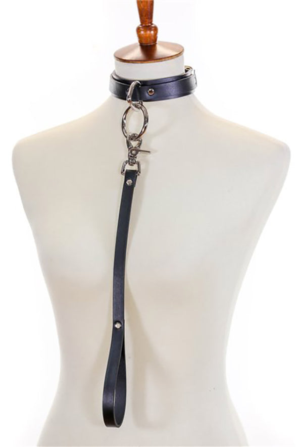 Leather O-ring collar with Leash - Vampirefreaks Store
