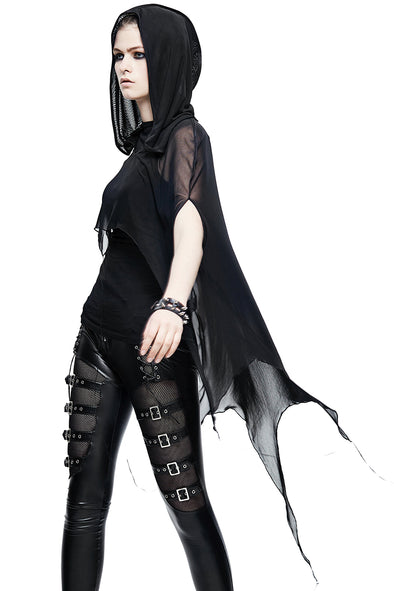 Devil Fashion Batwing Mesh Hooded Cape - Vampirefreaks Store