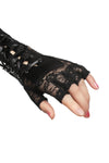 womens goth corset lace gloves