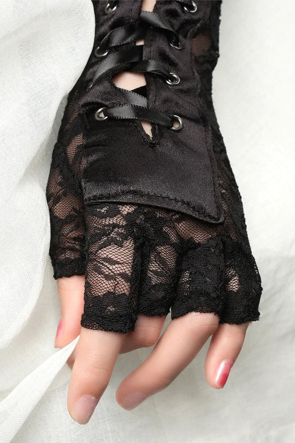 womens lace steampunk gloves