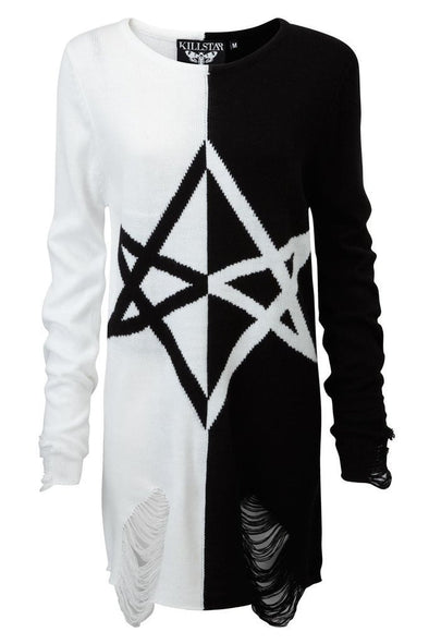 Killstar Hexagram Split-Knit Sweater