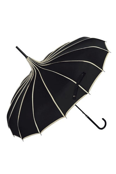 Pagoda Umbrella - Black w/ White Polka Dot Trim Parasol